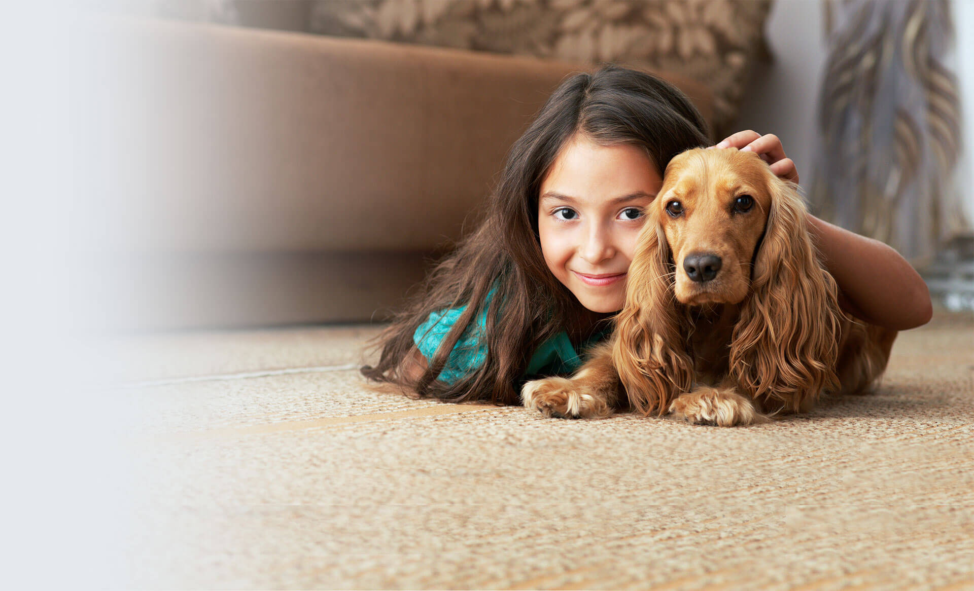 kid and dog on clean carpet