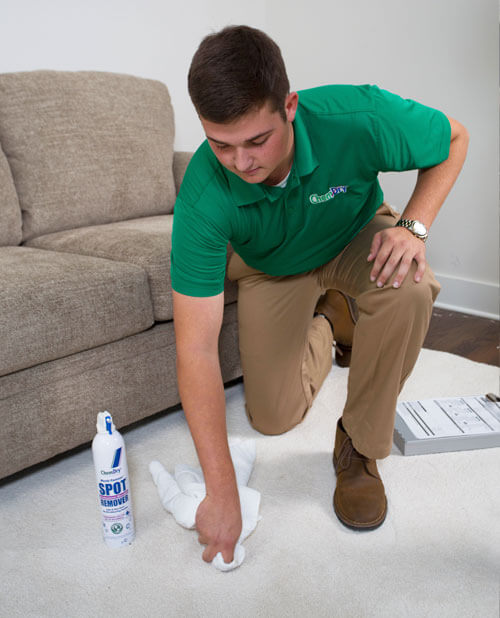 technician removing carpet stain