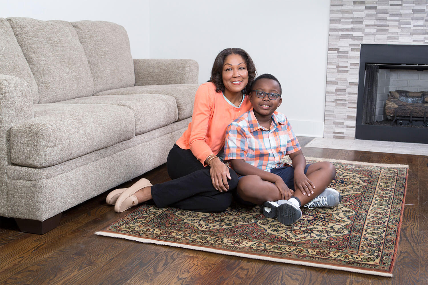family enjoying clean area rug