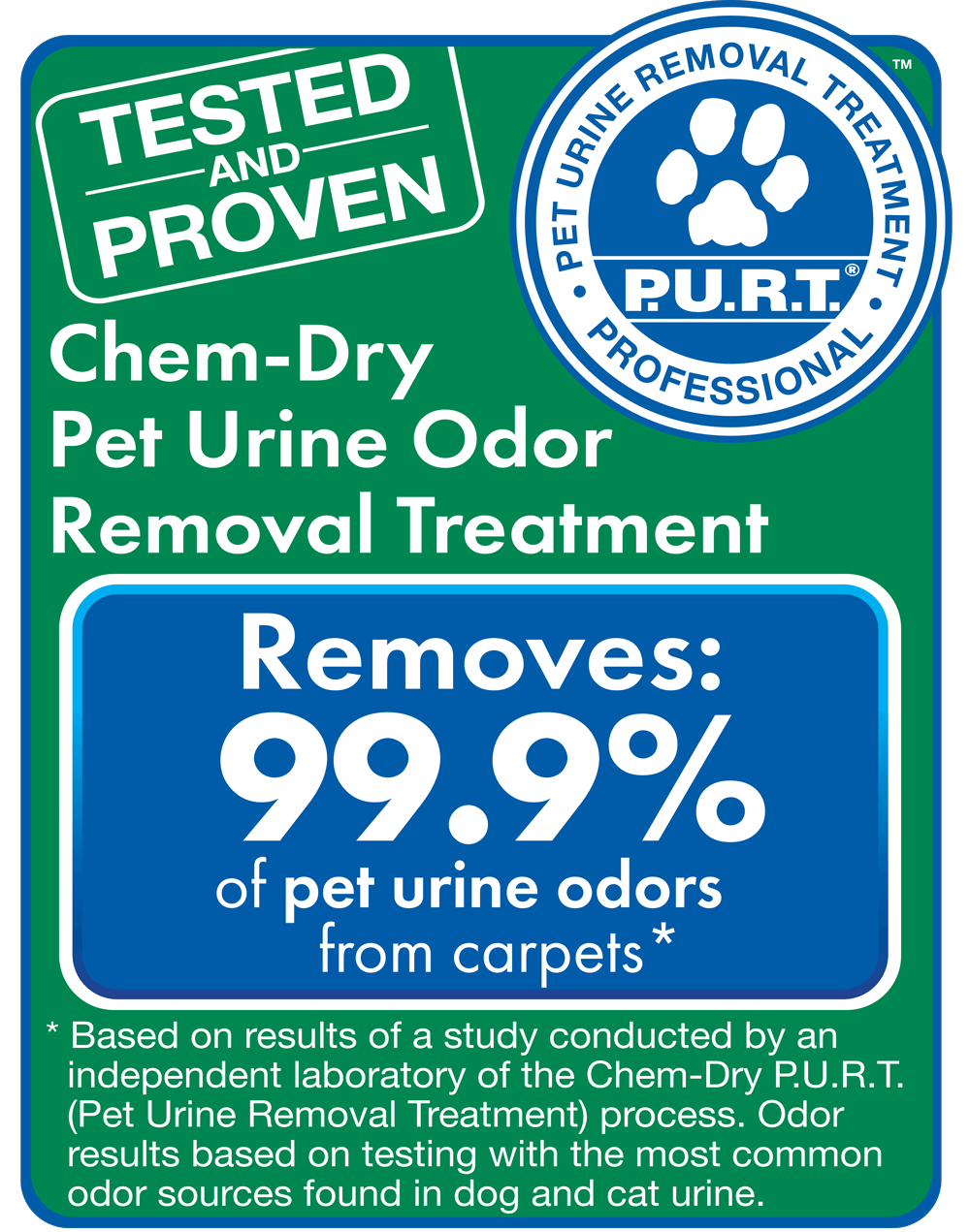 chem dry removes 99.9% of odors and 99.2% of bacteria from pet urine in carpets